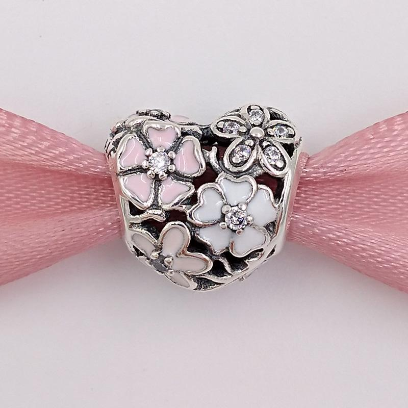 Authentic 925 Sterling Silver Beads Poetic Blooms Charm Fits European Pandora Style Jewelry Bracelets & Necklace 791825ENMX
