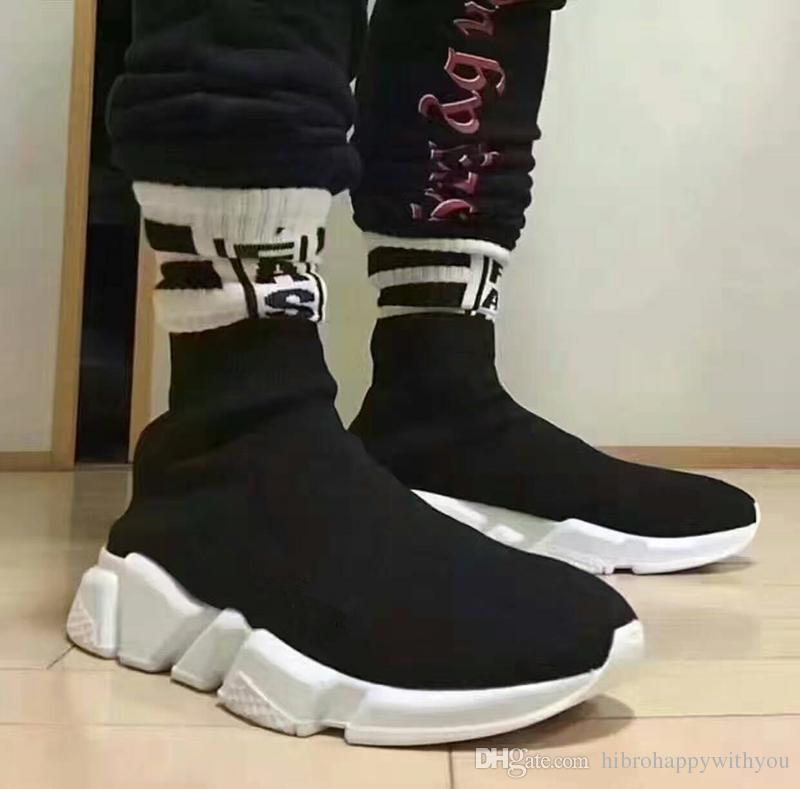 2017 new men and women designer shoes paris famous brand speed trainer mid black white top. Black Bedroom Furniture Sets. Home Design Ideas