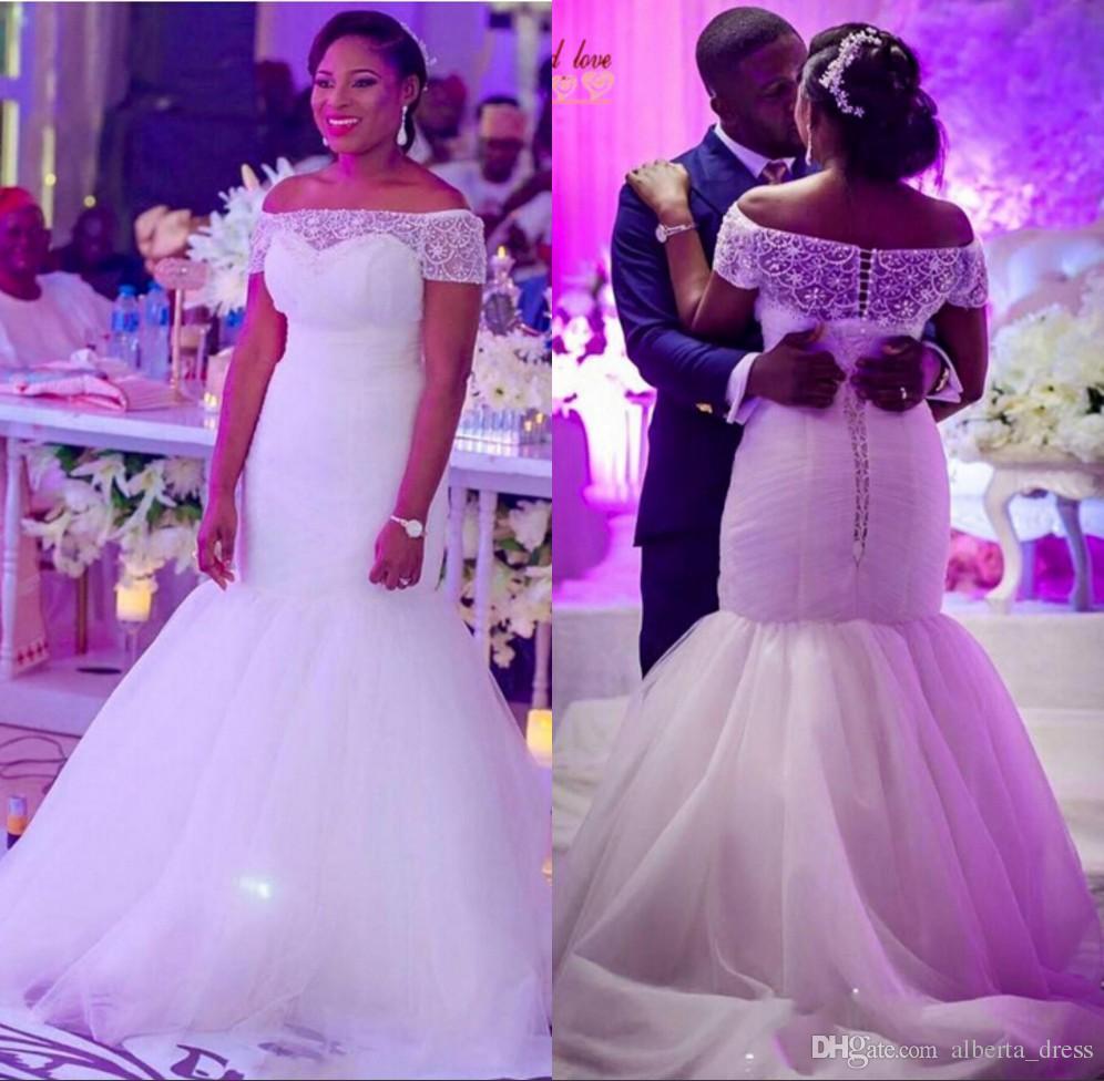 Smoothest Plus Size Shape Beabing Bateau Hear Wedding платья русалки Button Back Bridal Plasss Tulle Sweep Train Custom