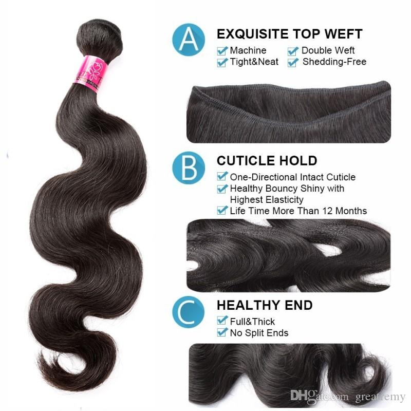 Greatremy® Top Closure4*4 With Bundles Full Head Malaysian Peruvian Indian Brazilian Virgin Hair Extensions Body Wave Dyeable