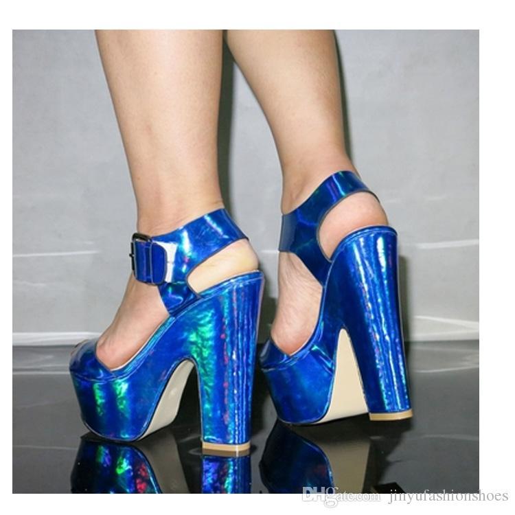 2017 new laser belt Fashion women's chunky heel sandals Black hot women party pumps retail And wholesale platform shoes
