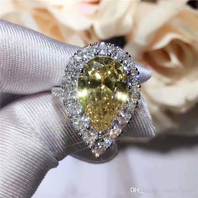 ОПТОВАЯ ПРОДАЖА Высокое качество классический стерлингового серебра 925 пробы CZ алмаз большой слезинка желтый кристалл кольцо свадебные украшения для женщин