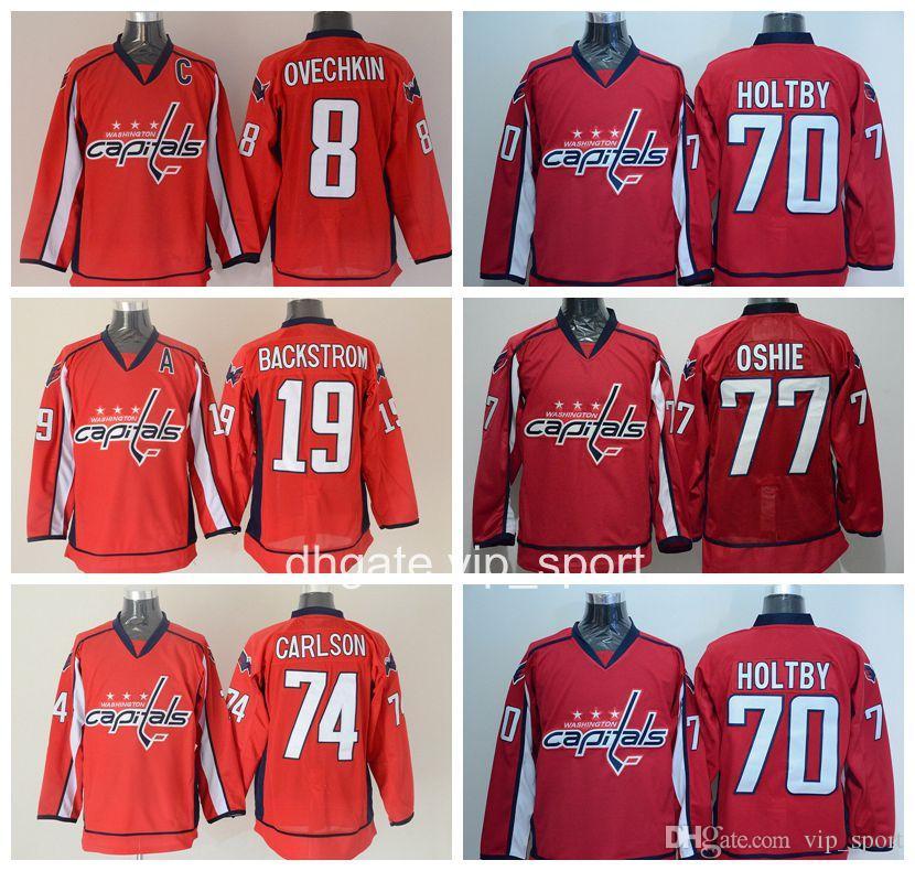 wholesale dealer 04ee9 4ce35 Men Washington Capitals Jerseys Ice Hockey 8 Alex Ovechkin 19 Nicklas  Backstrom 70 Braden Holtby 74 John Carlson 77 TJ Oshie Jersey Red