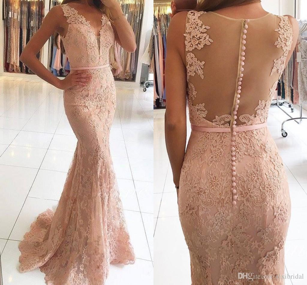 2017 Long Mermaid Evening Dresses V Neck Lace Appliques Beaded Prom Gowns Sexy Illusion Back Covered Button Formal Party Dress