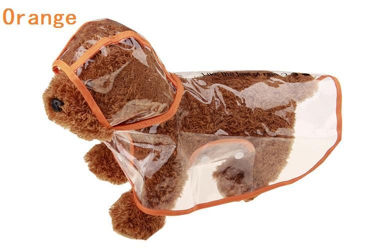 Venda por atacado - Cão transparente impermeável capa de chuva pet poncho com capuz pet roupas poncho cão vestuário dia chuvoso IA004