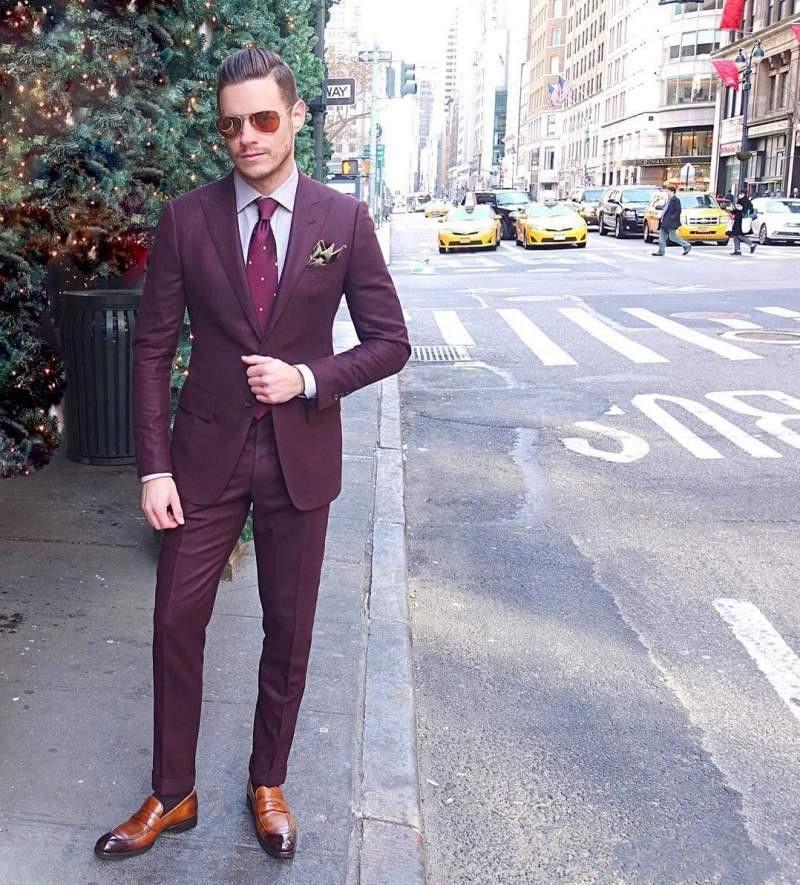 High Quality Burgundy Cool Mens Suits Slim Fit Groom Wedding ...
