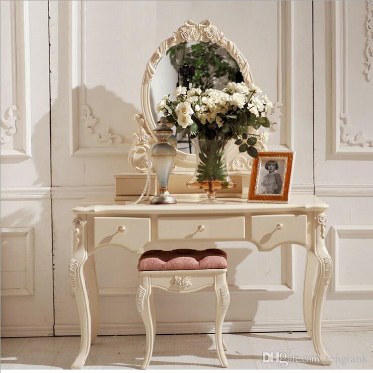 Comò da tavolo europeo con specchio bianco. Mobili per camera da letto  francese p10111