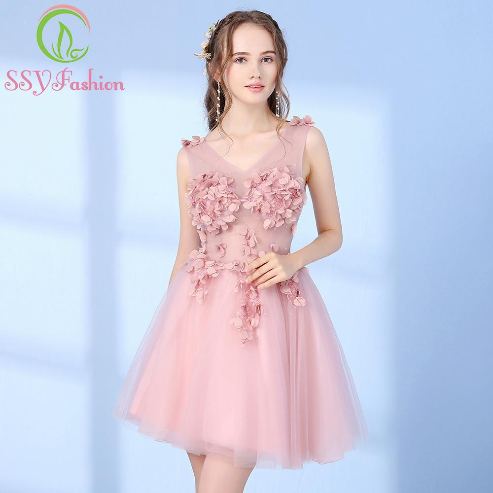 Ssyfashion 2017 New Sweet Pink Bridesmaid Dress Short V Neck ...