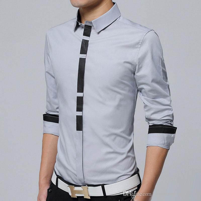 Buy Cheap 2019 New Long Sleeve Men Shirts Social Stand Collar Plus Size Mens Dress Shirts Soli Shirts Men Casual Clothing Men Spring Wear The Latest Fashion Men's Clothing Casual Shirts