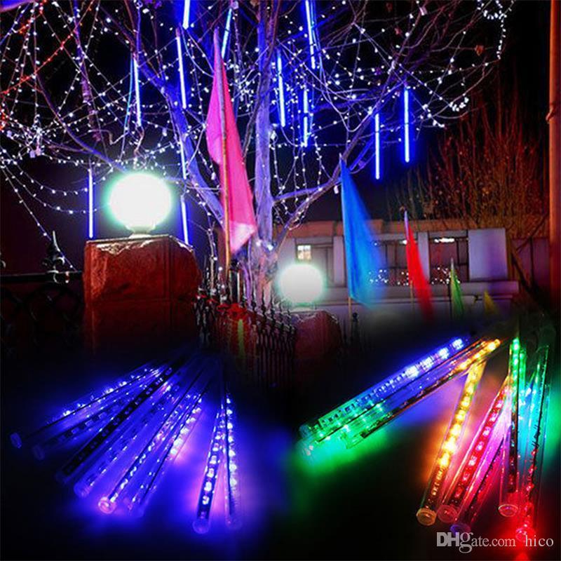 8 шт. Комплект рождественский свет снегопад светодиодные полосы рождественский дождь трубки 20 30 50 см метеоритный дождь дождь светодиодные трубки ЕС США Plug