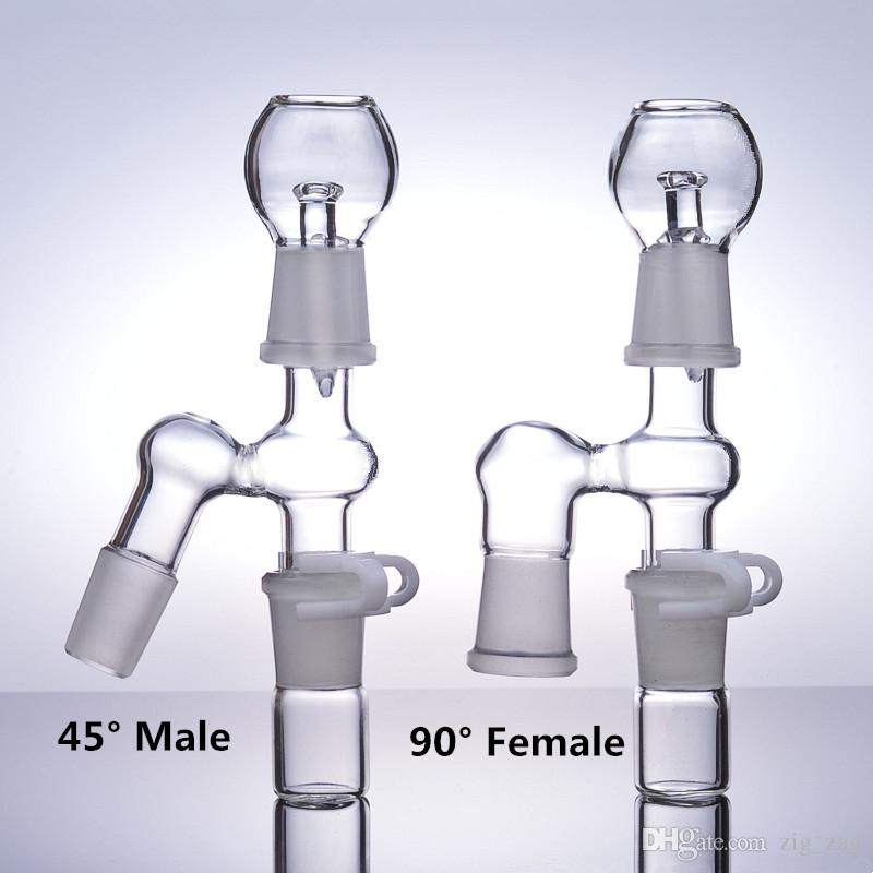 45° 90° bong accessories ash catcher adapter 14mm male 18mm female oil rig dab bubbler glass water pipes smoking bowls 18.8mm