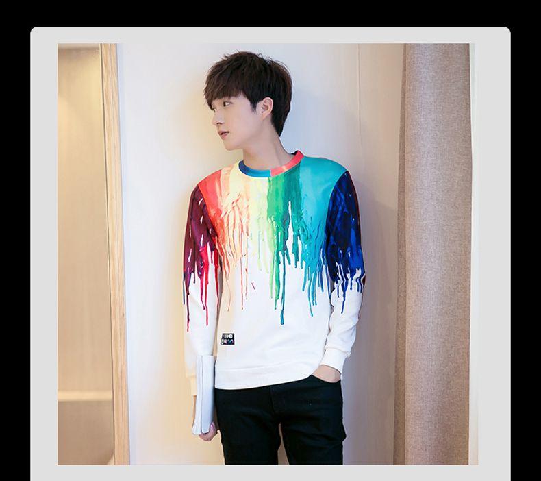 Estilo coreano estampado masculino suéter T-shirt nuevo otoño primavera casual camiseta marea moda masculina sudaderas con capucha camisetas T-shirt ropa delgada viste
