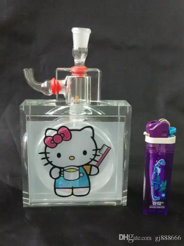 Hello Kitty Cushion Glass Glass Bongs Accessories  , Glass Smoking Pipes colorful mini multi-colors Hand Pipes Best Spoon glas
