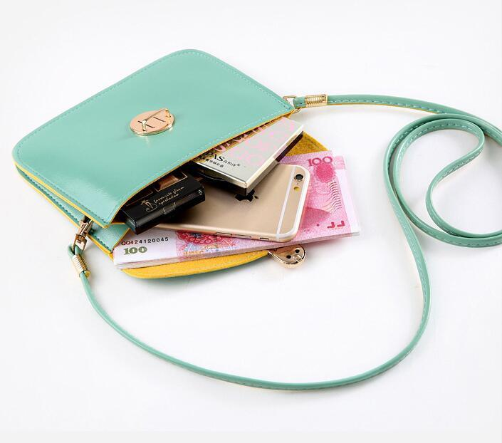 Vintage Kadınlar Çapraz Vücut PU Deri Messenger Çanta Şeker Renk Omuz Çantası Telefon Kredi Kartları Para Tutucu Rahat Çanta Çanta