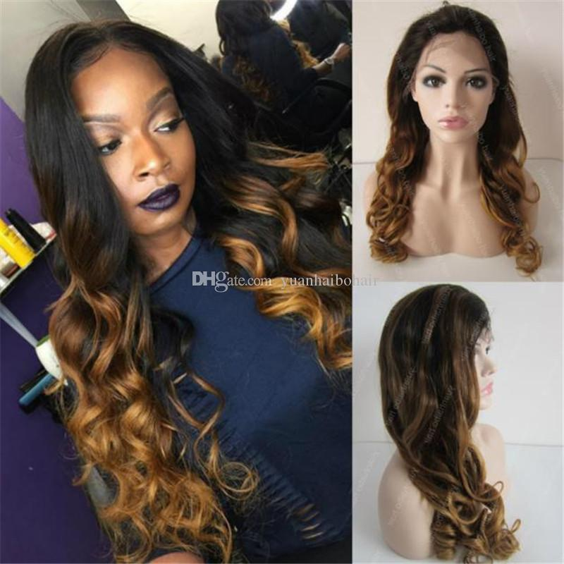 Hot Sale Glueless Human Hair Wig Loose Wave Indian Remy Hair Ombre Full Lace Wig Free Shipping