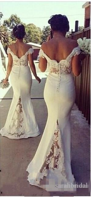 Elegant White Long Mermaid Bridesmaid Dresses Off the Shoulder lace Sweep Train Wedding Guest Dress Covered Button Back Maid of Honor Gown