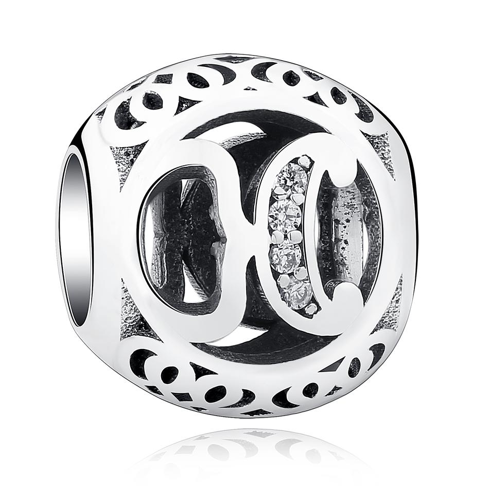 BELAWANG Brand Design 925 Silver Beads Original Alphabet Beads Fit Pandora Charm Bracelet 925 Sterling Silver Letter Charms