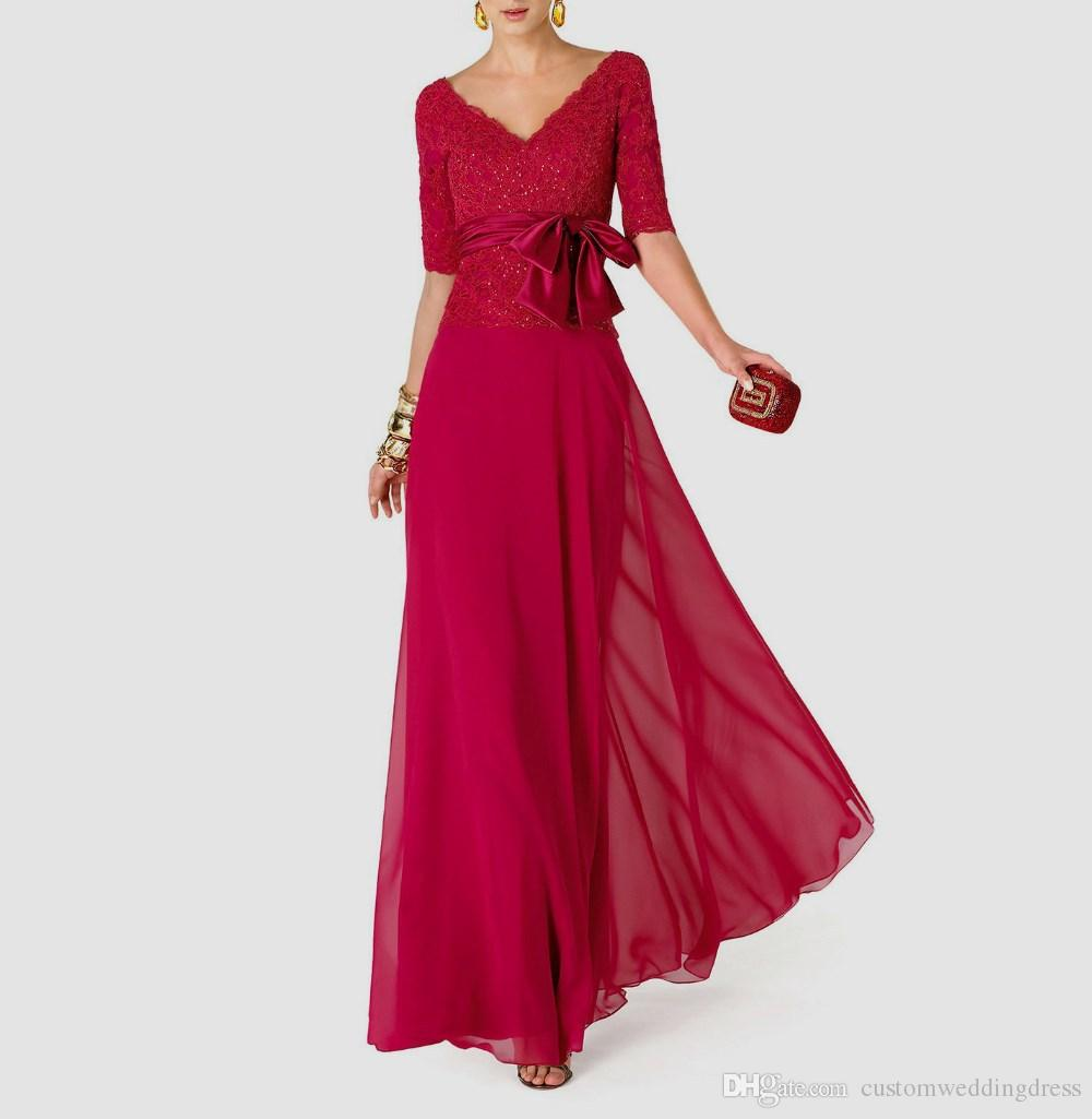 weddings party vestido de madrinha casamento 2018 fashionable sexy v-neck bow long Mother of the Bride Dresses