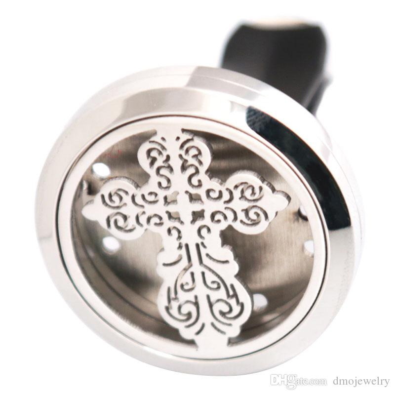 New Vintage Cross Aromatherapy Essential Oil surgical 30mm Stainless Steel Pendant Perfume Diffuser Car Locket Send Oils Pads