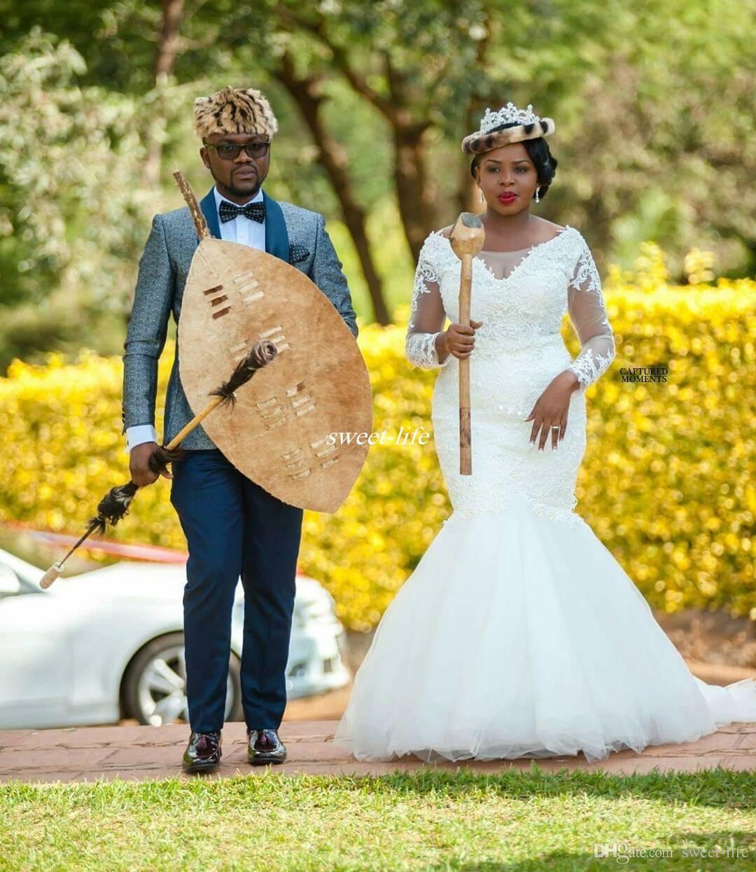 Long Sleeve Plus Size Wedding Dresses Mermaid Sheer Bateau Neckline Lace Sweep Train Tulle 2017 Outdoor Vintage Afracia Bridal Wedding Gowns