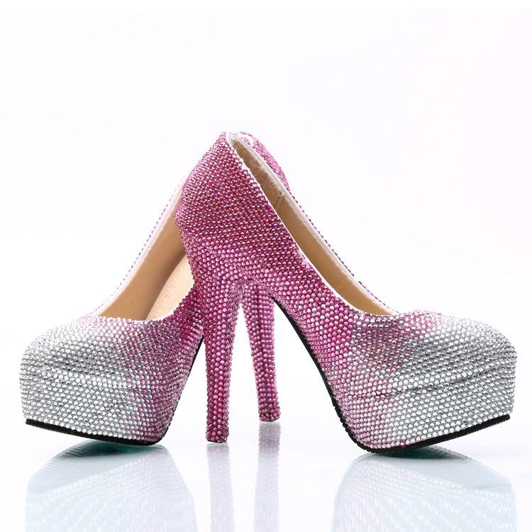 70279900a9d18e Silber Fuchsia Gradient Cinderella Schuhe Handmade Prom Abend High Heels  Edelsteine Strass Braut Brautjungfer Hochzeit Schuhe 5 8 11 14cm 005