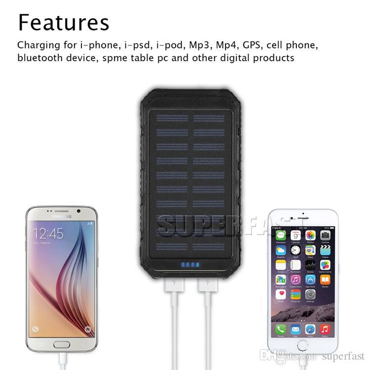 Stoßfeste 4000-mAh-Solarladegerät-Bank 6000-mAh-tragbare Solarpanels 8000-mAh-funktionale Solarladegeräte für MP3 / MP4 mit Einzelhandelspaket
