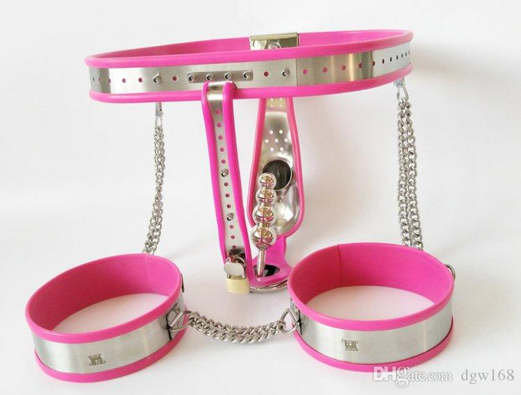 New Male Fully Adjustable Model-T Stainless Steel Chastity Belt with Pink silicone liner + anal plug + thigh cuff