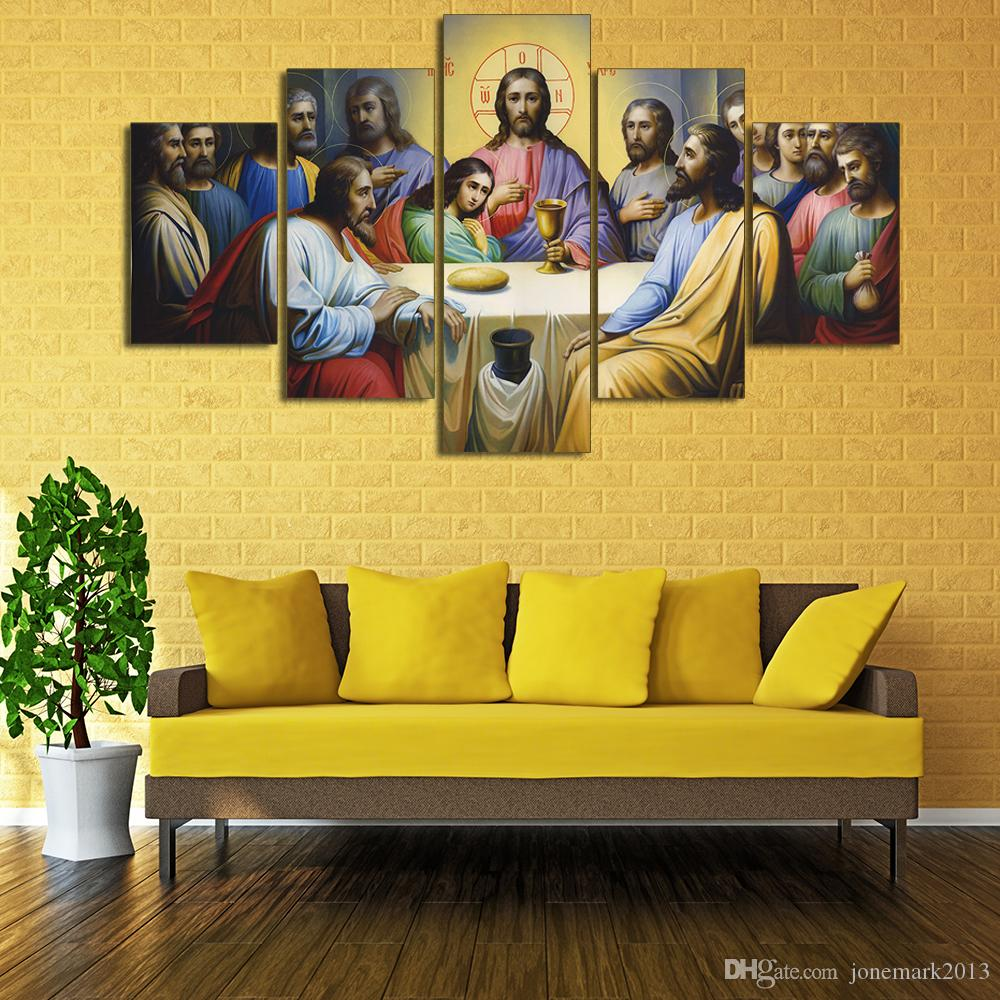 2018 Framed Hd Printed Jesus The Last Supper Picture Wall Print ...