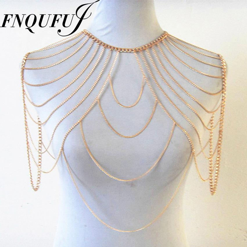 Wholesale Fashion Punk Shoulder Accessories Multi Tassel Necklace 2017 Body Chain Women Harness Party Jewelry