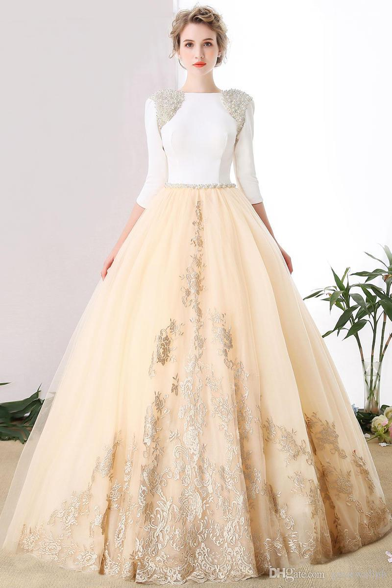 100%real Beading Shoulder White Champagne Ball Gown Medieval Dress ...