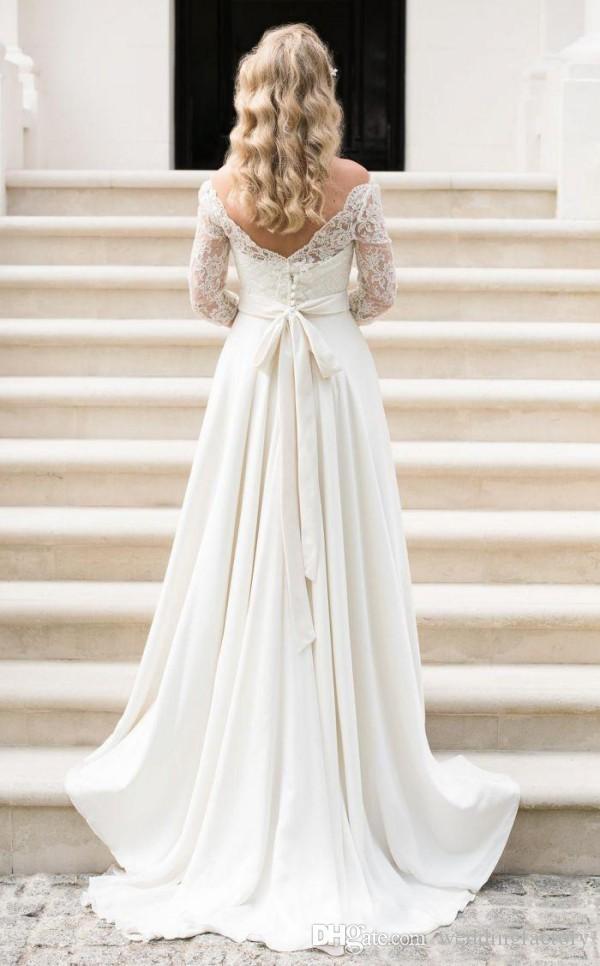 Linia skromna suknia ślubna z rękawami Krajowa Illusion Lace Bateau Neck V Wstecz zamek błyskawiczny suknie ślubne z Sweep Pociągiem i skrzydłem