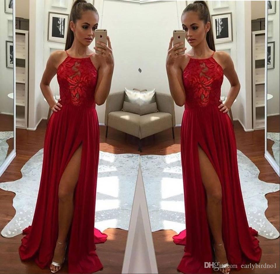7ec134e2eff22 Sexy Halter Neckline Chiffon Red Prom Dresses 2018 Sleeveless Side Split  Evening Dresses Women Party Wear Cheap Short Lace Dress Short Prom Dresses  Uk From ...