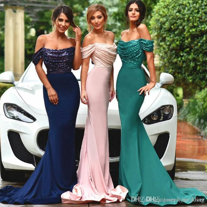 Moda Bling Lantejoula Longo Vestidos lindo Boat Neck fora do ombro Azul marinho verde esmeralda Mermaid Prom Vestidos Formais