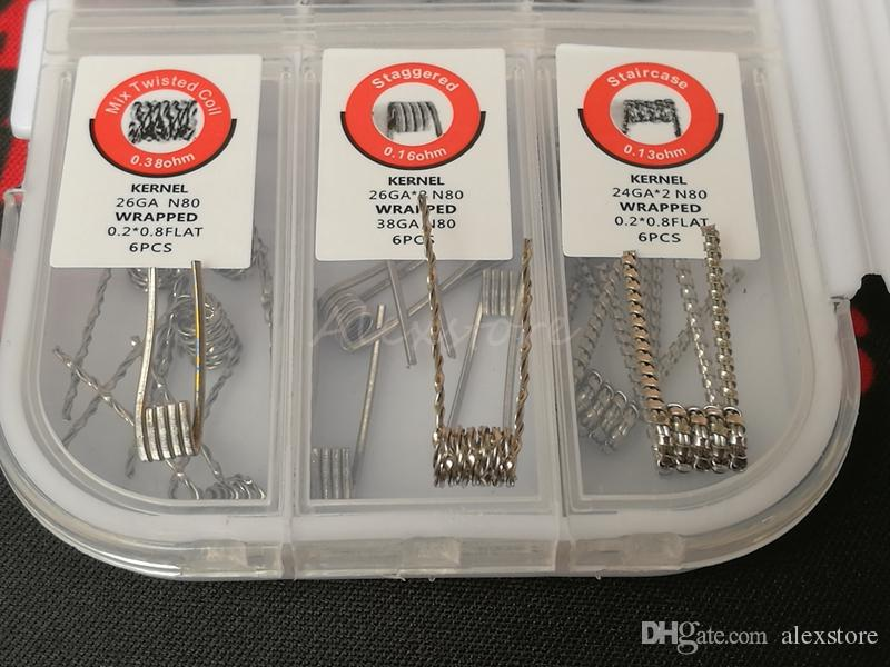 7 In 1 Prebuilt Coil Box Kit Clapton Hive Tiger Quad Mix Twisted Staggered Staircase Premade Pre-built Wrap Wires with Cotton Screwdriver