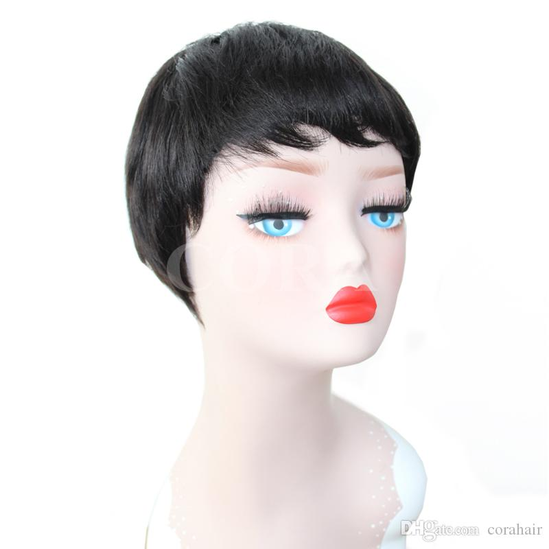 Human pixie hair Brazilian virgin wigs short pixie cut full lace Non Lace BoB Wigs Natural Color Machine Made cute hairstyles Wig