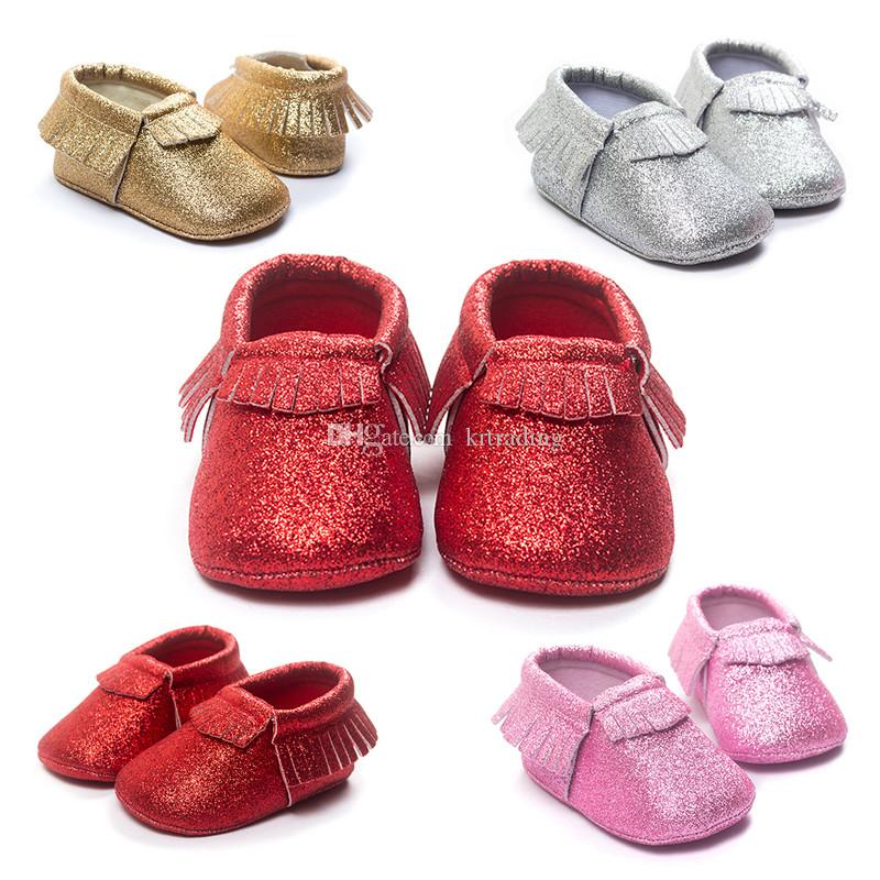 2dfae4f50d53 2019 Shiny Newborns Shoes Baby Blingbling Pu First Walkers Lovely Tassels  Soft Sole Shoes For Infants Girls Moccasins From Krtrading