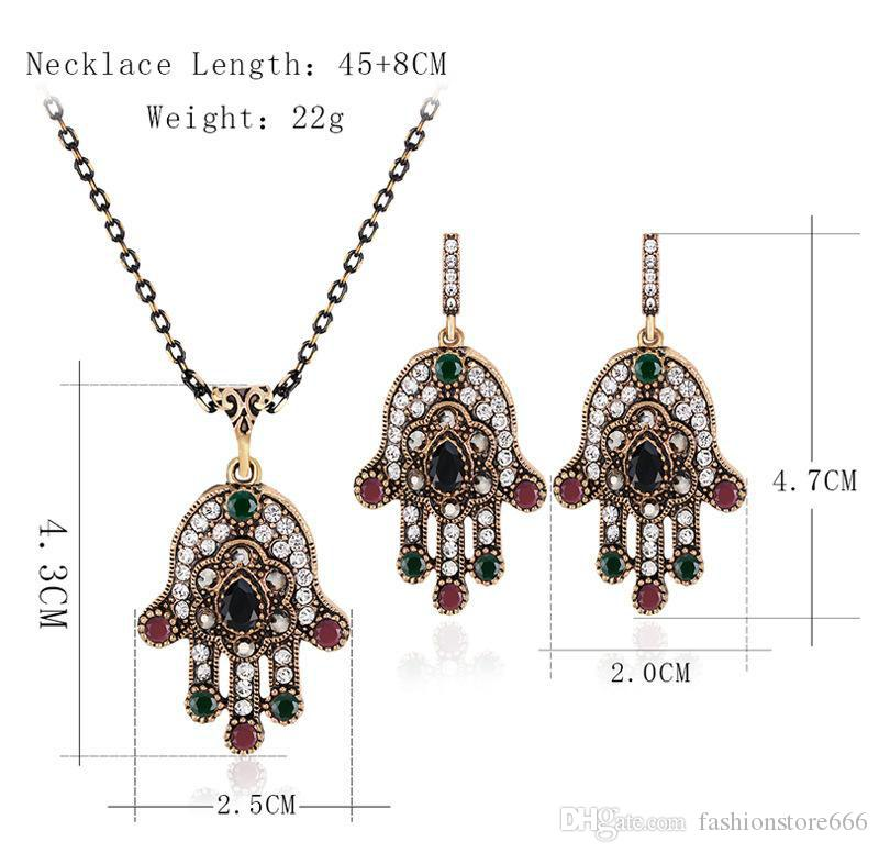 african jewelry set Jewelry Sets Crystal Lucky green Evil Eyes Pendant Necklace Earrings Jewelry Jewellery Sets Women maxi statement