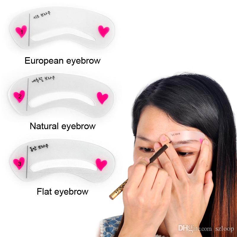 3pcs/set Eyebrow Stencils 3types Reusable Eyebrow Drawing Guide Card Brow Template DIY Make Up Tools 2805042