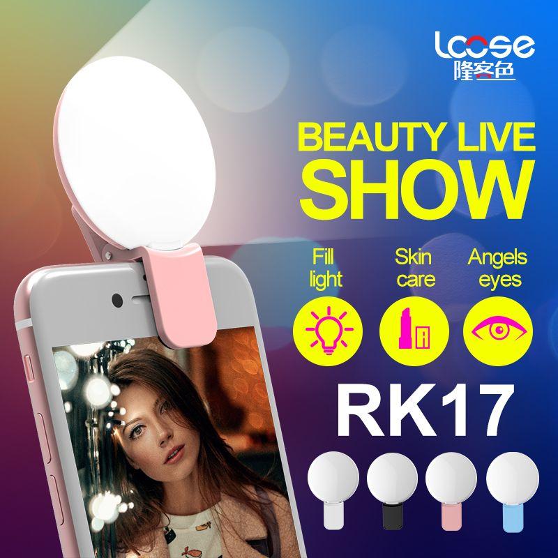 Portable Selfie LED Flash Light RK17 LED fill light Premium Bulbs For Phone For iPhone 7/7Plus For Samsung S7 EDGE xiaomi i8 Hot sale