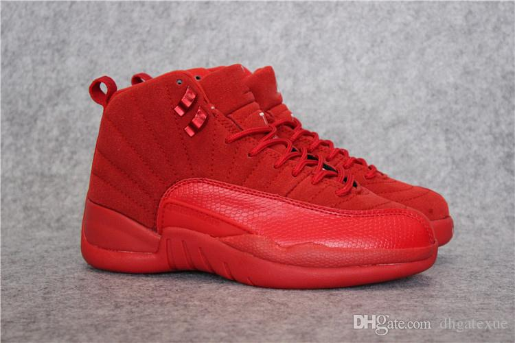 hot sale online dc650 7b30a Free Shipping XII Red Suede Shoes Mens 12s red Suede shoes size us 7-13  [With Box]