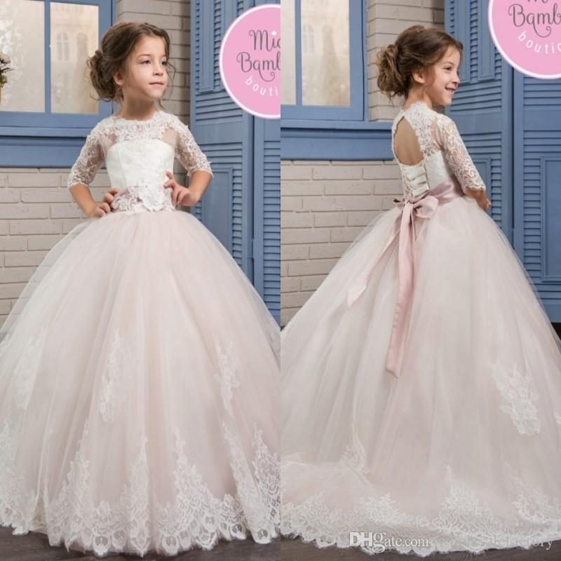 17add2067c92 2017 Beautiful Lace Tulle Flower Girls Dresses Jewel Neck Half ...
