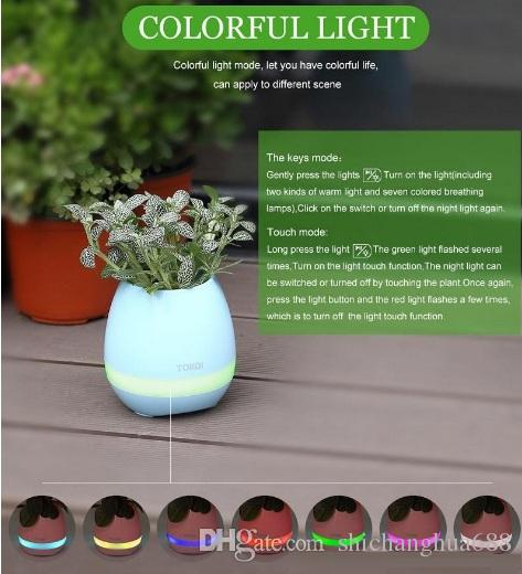 Creatives Touch Wireless Bluetooth Flowerpot Mini Subwoofer Speaker with LED Multiple Colors Home Smart Plant Office Mp3 Music Player Pot