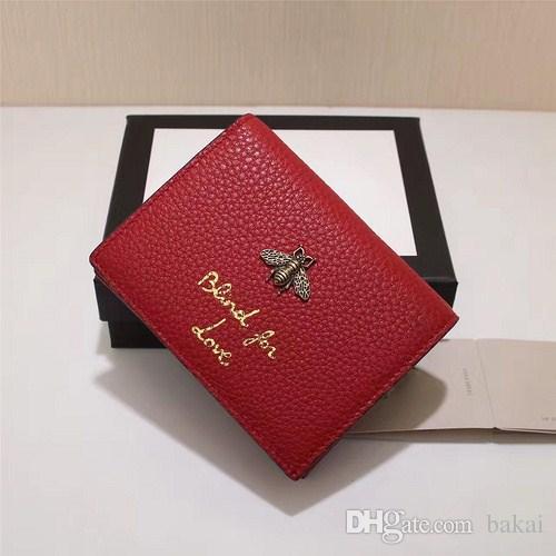 Portafogli mini donne in vera pelle di qualità calda, borsa delle signore di marca di moda, tasca di carta di borsa di moda tasca titolare di carta con ape in metallo