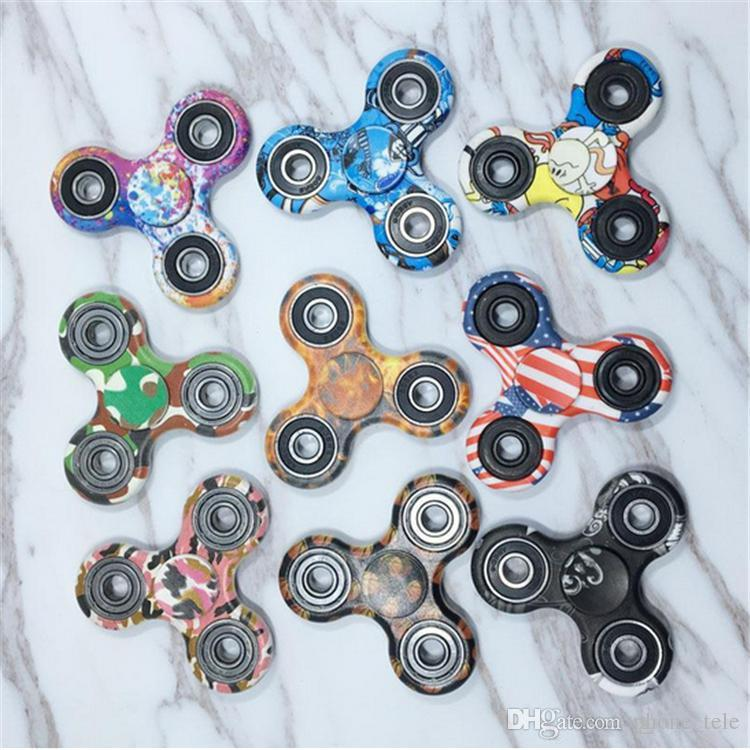 Camouflage Fidget Tri Spinner Camo Hand Fingertip Spinners Handspinner Metal Ball Bearing EDC Torqbar Finger Spinning Decompression Toys