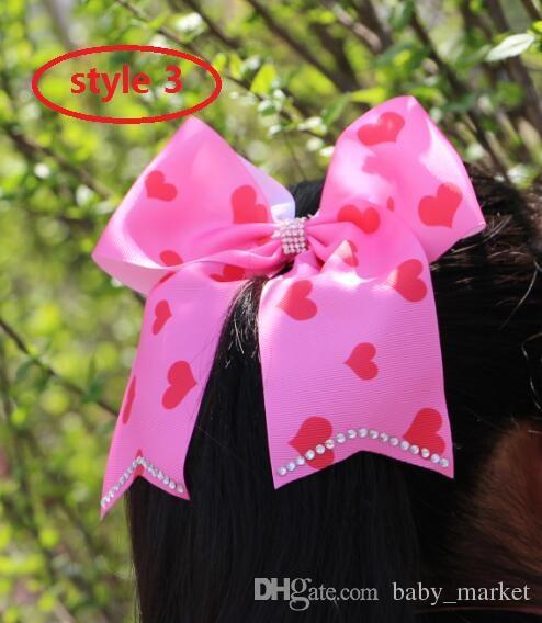 9 стиль! Преувеличенный 8-дюймовый Jojo черный горный хрусталь лук с зажимом искриться луки сервера ombre Rainbow ленты волос бантики аксессуары для волос 12 шт. /