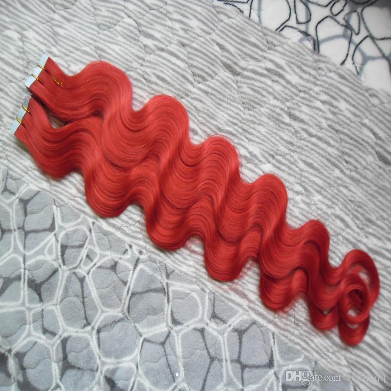Fita Vermelha Em Extensões de fita do cabelo humano da Onda Do Corpo Humano Do Cabelo Humano Fita da onda do corpo Natural em extensões de cabelo da trama da pele 100g