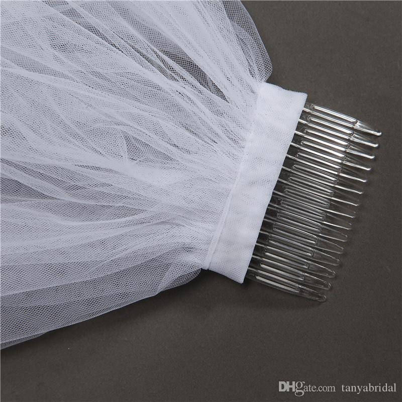 Marfim branco Longo Lace Apliques Borda Véu De Noiva Real Imagem de Desconto Por Atacado Em Estoque Véus Preço Barato