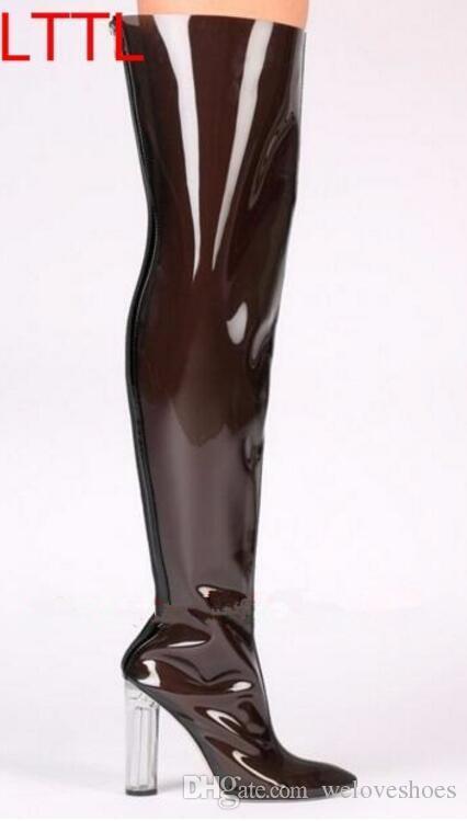 2017 новых женщин над коленом высокие сапоги ПВХ ясно пятки Пип toe пинетки коренастый каблук пинетки платье обувь высокий Гладиатор сандалии сапоги женщина