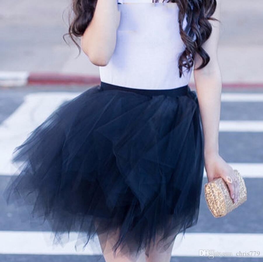 139eb348b8 Compre De Moda De Color Negro Falda De Tul Estilo Elástico Hinchado Faldas  Tutu Gruesas Para La Moda De Señora Women Falda De La Cintura Personalizada  A ...