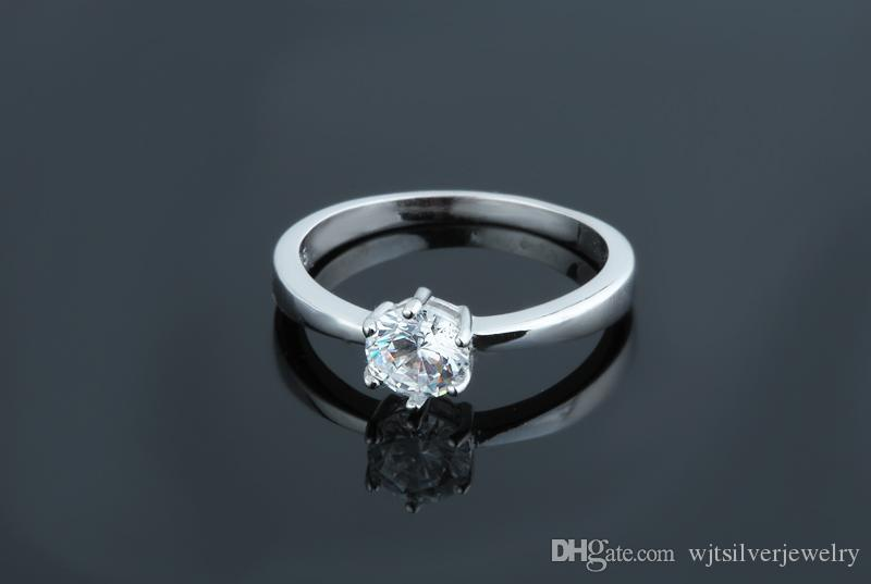 fashion sterling silver 925 ring jewelry solitaire big white CZ diamond engagement wedding ladies ring silver women cheap